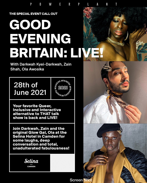 GOOD EVENING BRITAIN: LIVE! Join Darkwah Kyei-Darkwah, Zain Shah and Glow with Ola for a night of queer fabulousness