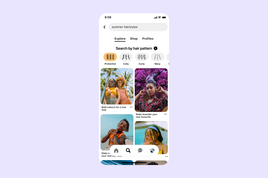 Pinterest is adding hair patterns to its search filter for inclusive beauty results
